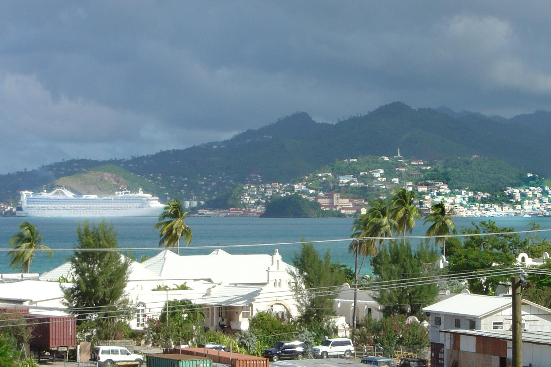 Cruise ship reaching the Caribbean Island Grenada